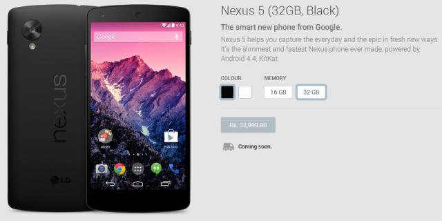 Google Nexus 5 at Play Store India